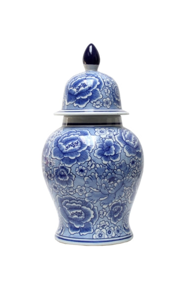 Blue & White Floral Temple 38cm