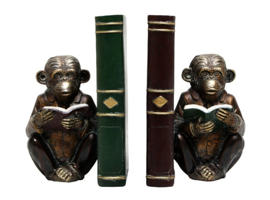 Monkey with a Book Bookends
