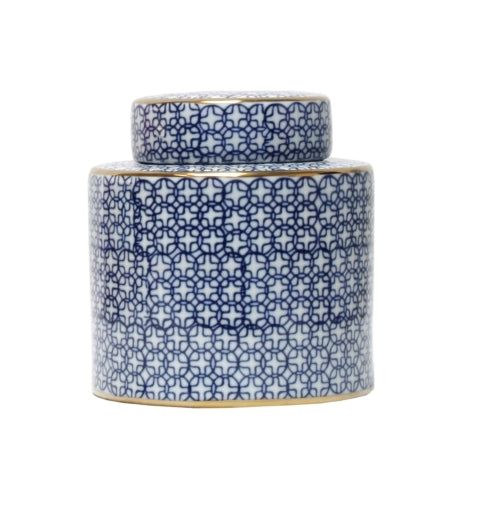 Blue White & Gold Round Jar
