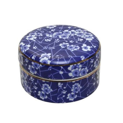 Blue & White Round Blossom Trinket Box