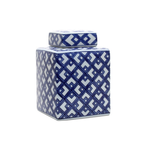 Blue & White Lattice Square Jar