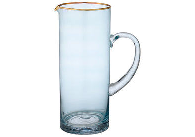 Aqua & Gold Glass Jug