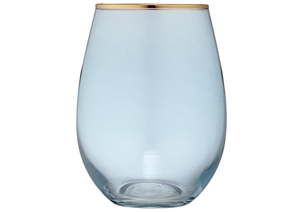 Aqua & Gold Glass Tumbler