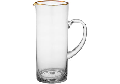 Clear & Gold Glass Jug