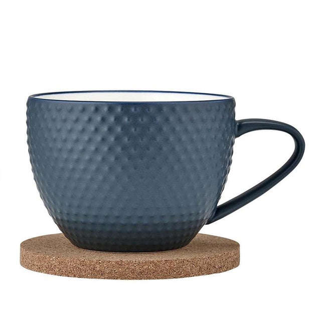 Ladelle Abode Textured Ink Blue Mug & Coaster Set