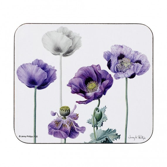 Ashdene Purple Poppies 4pk Coasters