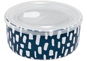 Ladelle Abode Ink Blue Dashes Microwave Food Bowl
