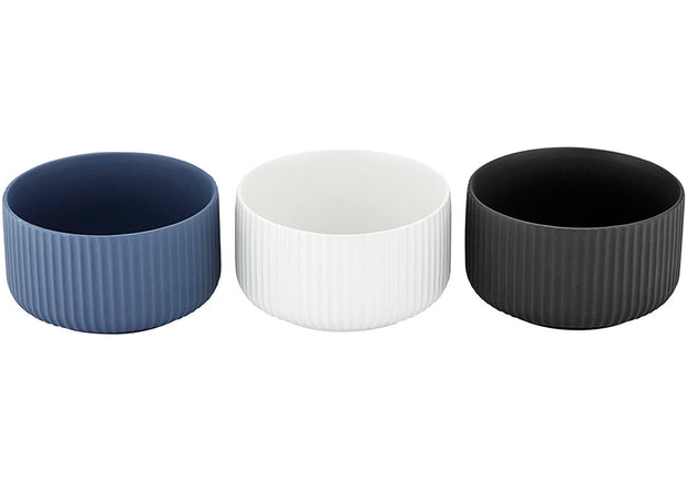 Ladelle Linear Ribbed 11cm 3 Piece Bowl Set
