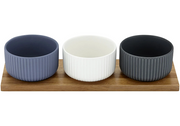 Ladelle Linear Ribbed Tall 4pce Bowl & Tray Set