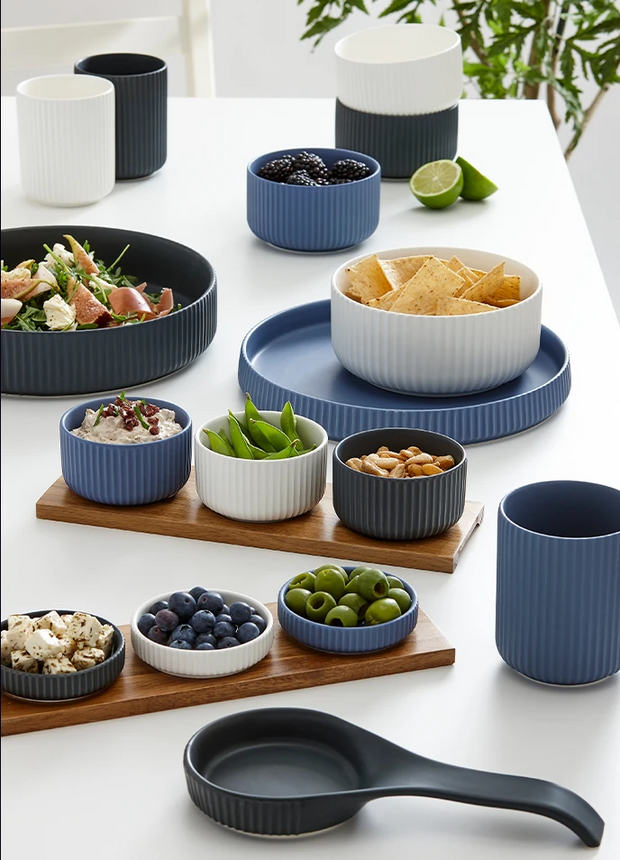 Ladelle Linear Ribbed Short 4pce Bowl & Tray Set