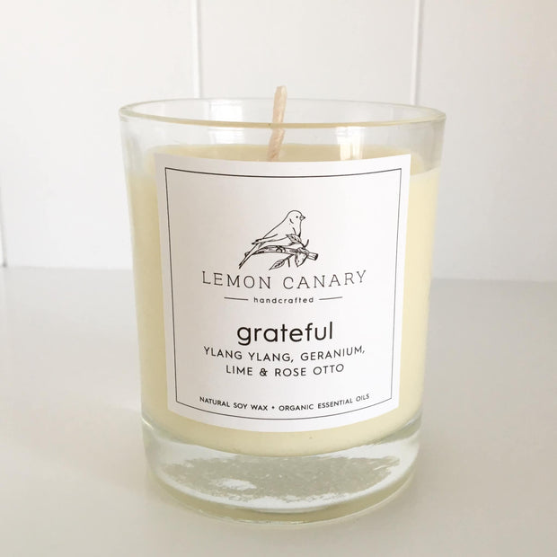 Organic Ylang Ylang; Geranium; Lime & Rose Otto Scent Votive Candle by Lemon Canary