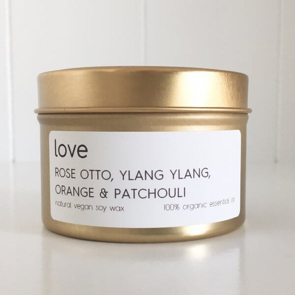 Organic Rose Otto; Ylang Ylang; Orange & Patchouli Travel Tin Candle - Love by Lemon Canary