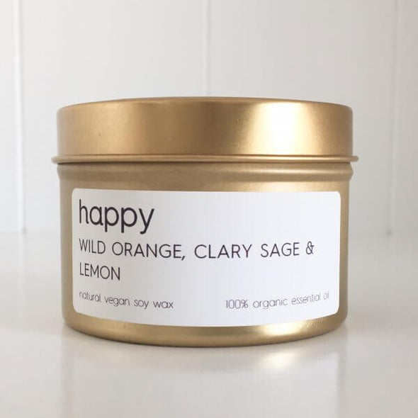 Organic Wild Orange; Clary Sage & Lemon Travel Tin Candle - Happy by Lemon Canary