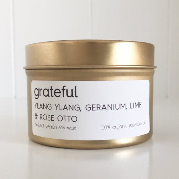 Organic Ylang Ylang; Geranium; Lime & Rose Otto Travel Tin Candle - Grateful by Lemon Canary