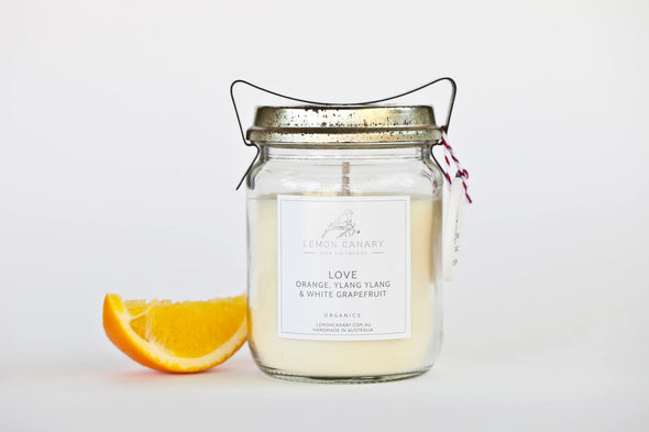 Organic Rose Otto; Ylang Ylang; Orange & Patchouli Love Vintage Candle - 200g by Lemon Canary