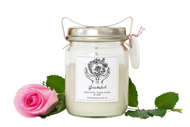 Organic Ylang Ylang; Geranium; Lime & Rose Otto Grateful Vintage Candle - 200g by Lemon Canary