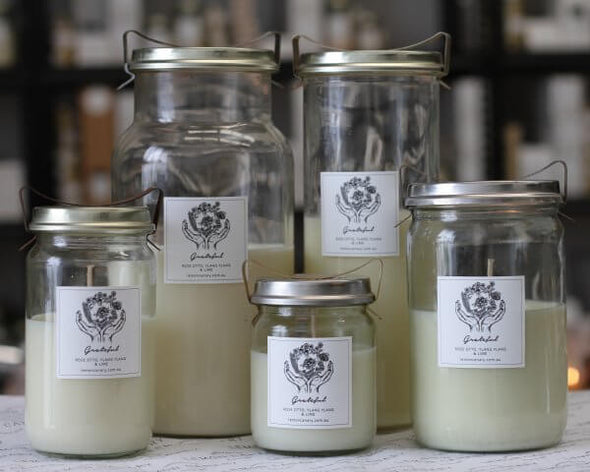 Organic Ylang Ylang; Geranium; Lime & Rose Otto Grateful Vintage Candle - 500g by Lemon Canary