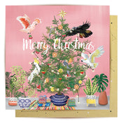 Birds Christmas Tree Greeting Card