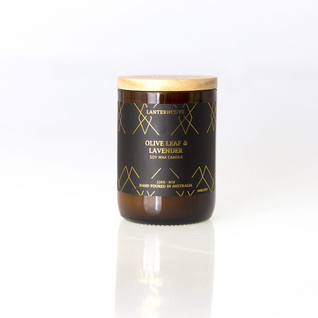 Amberesque Soy Wax Candle - Olive Leaf & Lavender