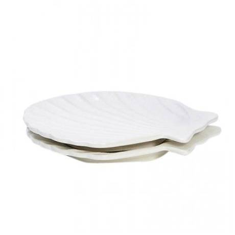 White Ceramic Scallop Plate