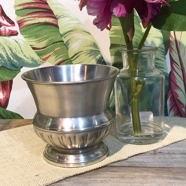 Ribbed Pewter Vase and Urn