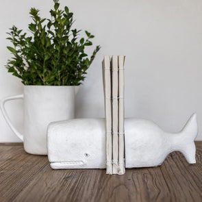 Hamptons Style White Whale Bookends