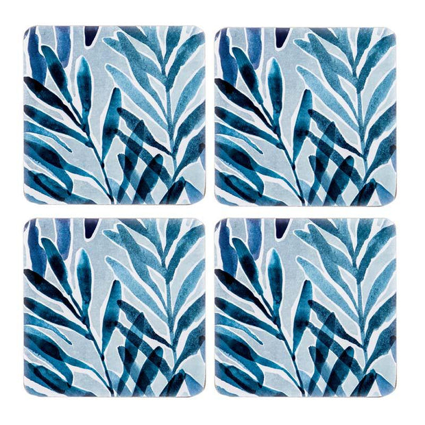 Palm Springs Teal Square Coasters Set of 4