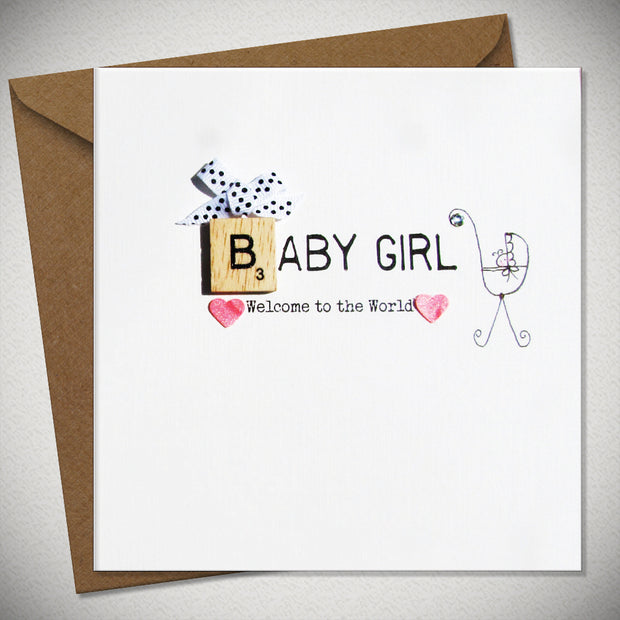 Baby Girl Scrabbley Greeting Card