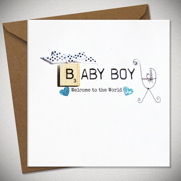 Baby Boy Scrabbley Greeting Card