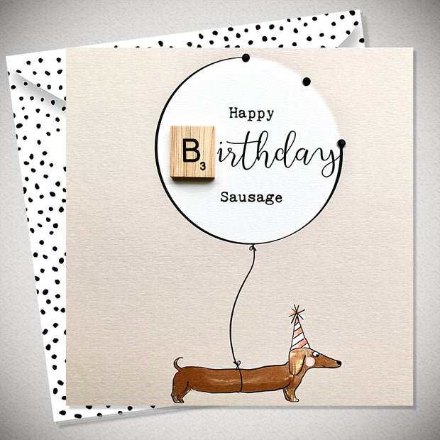 Happy Birthday Sausage Scrabbley Greeting Card