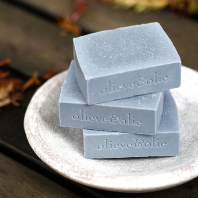 Olieve & Olie Hand Made Soap Bars - Bergamot Clary Sage & Charcoal - Set of 3