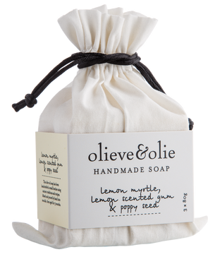 Olieve & Olie Hand Made Soap Bars - Lemon Myrtle; Lemon Scented Gum & Poppy Seed - Set of 3