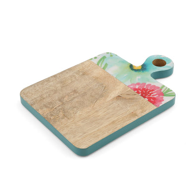 Rectangle Peony Enamel and Mango Wood Chopping Board