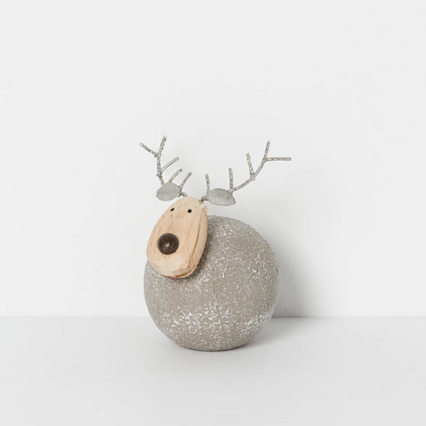Papaya Christmas Small North Pole Sitting Reindeer - Silver