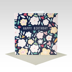 Navy Floral Birthday Card