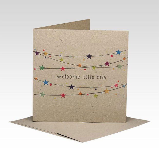 Welcome Little One Starry Garland Greeting Card