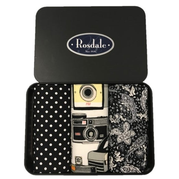Rosdale Mens 3 in a Tin Armando Caruso Handkerchiefs - Black & White Camera