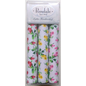 Rosdale Floret Handkerchiefs - 3 Pack - Blue Yellow Pink