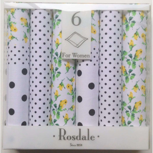 Rosdale Floral & Dot Handkerchiefs - 6 Pack - Yellow & Black