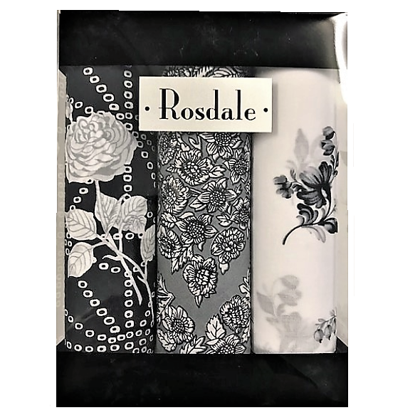 Rosadale Mens 3 Pack Handkerchiefs - Black Floral