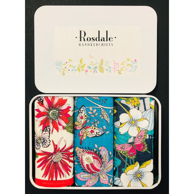 Ladies 3 in a Tin Armando Caruso Handkerchiefs - Floral Aqua
