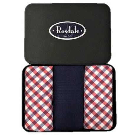 Mens 3 in a Tin Handkerchiefs - Red & Navy Check