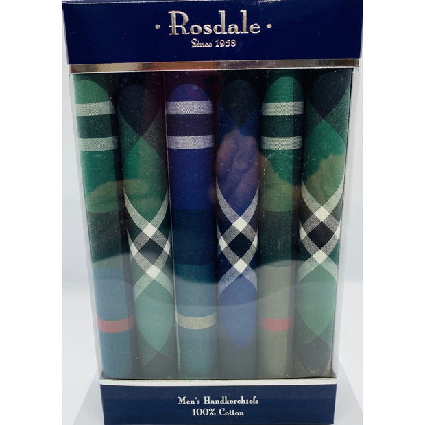 Mens 5 Pack Handkerchiefs - Green & Blue Check