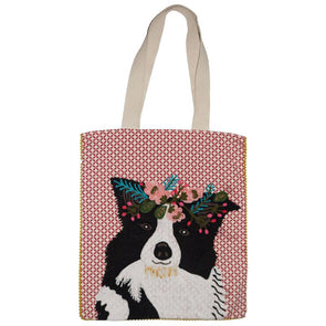 Ruby Star Border Collie Cotton Bag