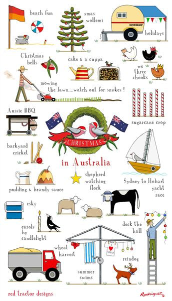 Red Tractor - Christmas In Australia Tea Towel