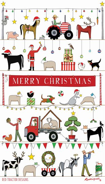 Red Tractor - The Christmas Parade Tea Towel