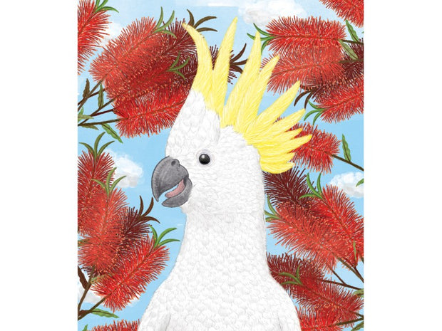 Mini Card - Cockatoo in Bottlebrush