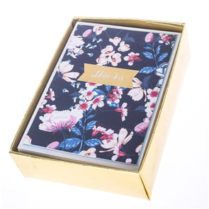 Navy Floral Boxed Thank You Cards by Graphique