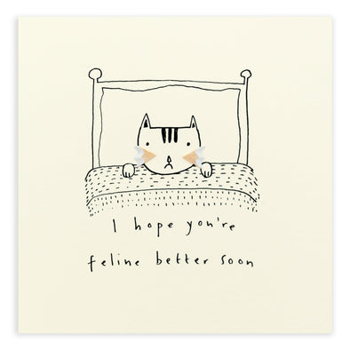 Pencil Shavings Feline Better Soon Greeting Card