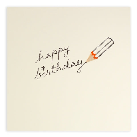 Pencil Shavings Happy Birthday Pencil Greeting Card